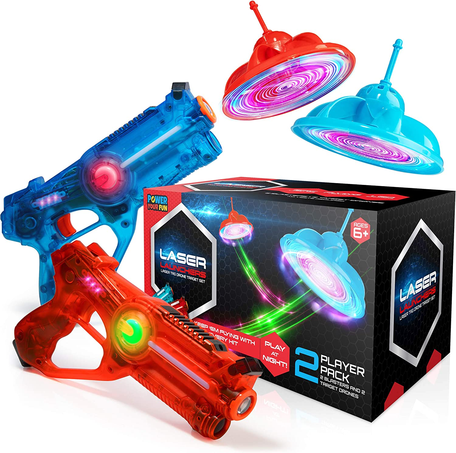 Power Your Fun Laser Launchers Laser Tag for Kids - 2 Player Laser Tag Shooting Games with 2 Toy Guns and 2 Flying Toy Targets