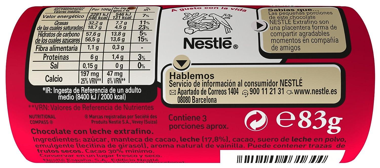 Nestlé Extrafino Chocolate con leche extrafino - 83 gr: Amazon.es: Alimentación y bebidas