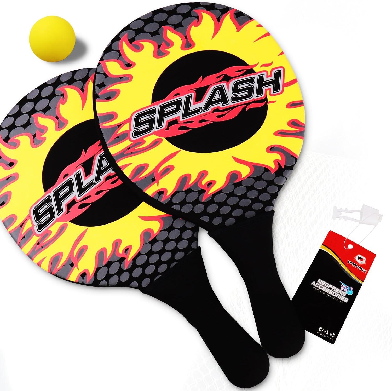 WIN.MAX Playa Juego de Pelota, Un clásico Juego de Playa, Splash Design, Unisex, 2 Raquetas para Playa de Neopreno y 1 Pelotas: Amazon.es: Juguetes y juegos