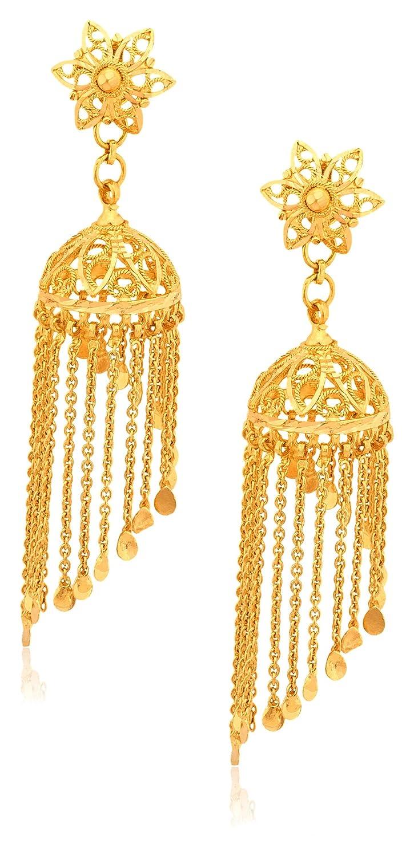 Buy Senco Gold 22k Yellow Gold Jhumki Earrings Online at Low ...