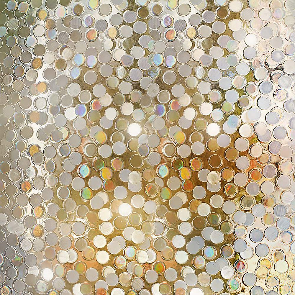 Rabbitgoo No Glue Privacy Window Film Decorative Window Film Static Cling Window Film Circles Pattern Glass Film for Home Kitchen Office Bedroom Living Room 17.7in. by 78.7in. GLOBEGOU CO. LTD