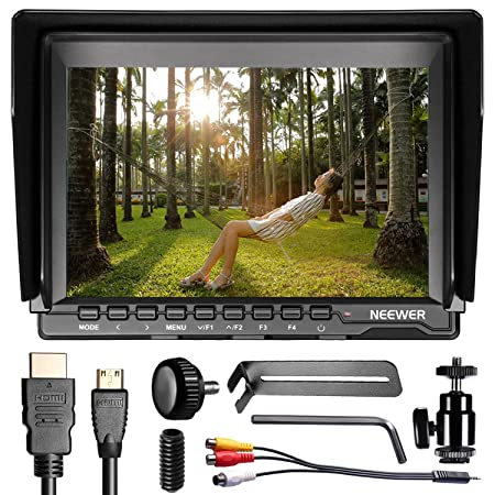 Neewer&reg; NW759 7Inch 1280x800 IPS Screen Camera Field Monitor with 1 Mini HDMI Cable for BMPCC,AV Cable for FPV, 16:9 or 4:3 Adjustable Display Ratio for Sony Canon Nikon Olympus Pentax Panasonic < at amazon