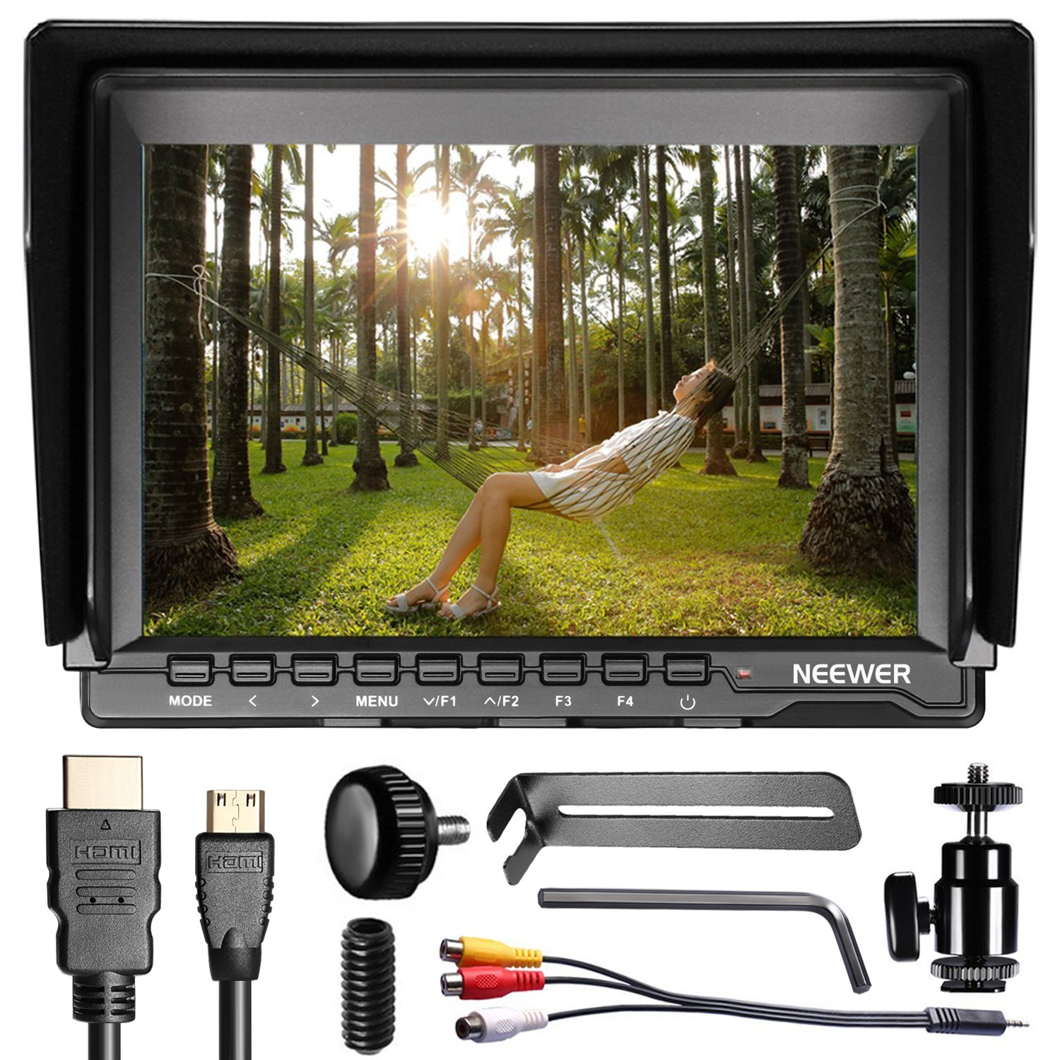 Neewer NW759 7Inch 1280x800 IPS Screen Camera Field Monitor with 1 Mini HDMI Cable for BMPCC,AV Cable for FPV, 16:10 or 4:3 Adjustable Display Ratio for Sony Canon Nikon Olympus (Battery not included) by Neewer