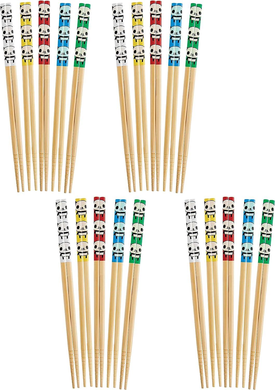 Helen's Asian Kitchen Bamboo Chopsticks, Panda, 5-Pair, Set of 4, One Size, Brown