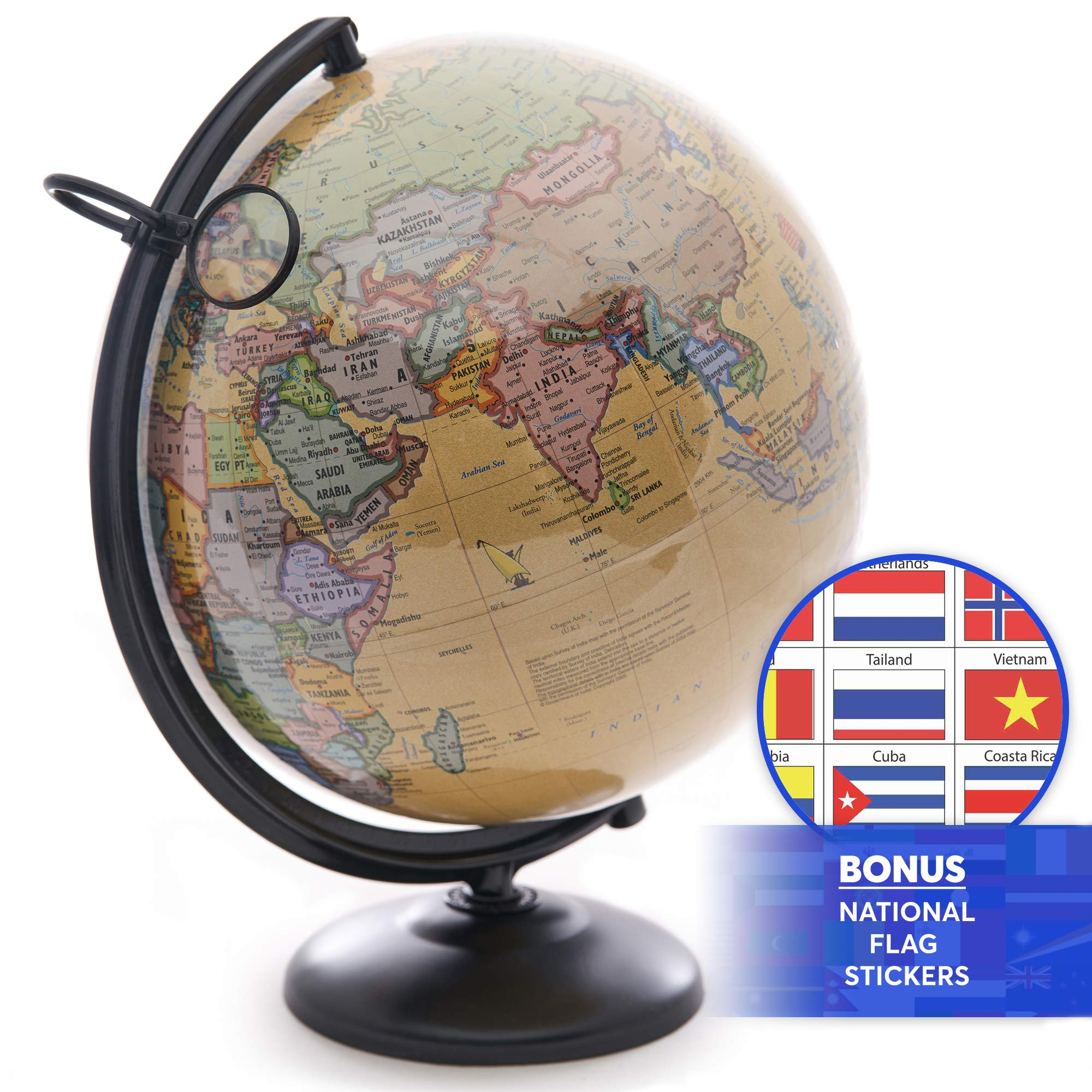 12 Inch World Globe with Metal Stand and Magnifying Glass. Perfect Desk or Classroom Globe for Adults and Children. 2019 Edition with Bonus Nation Flag Stickers! by OMISHOME