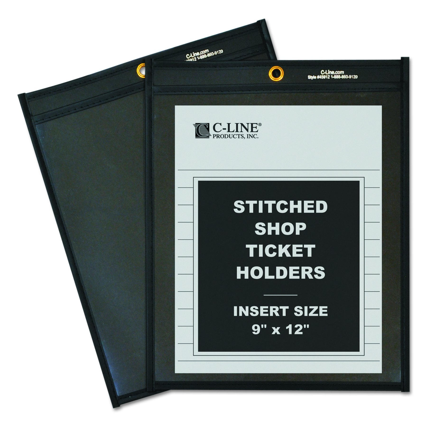 C-Line Shop Ticket Holders, Stitched, One Side Clear, 9 x 12 Inches, 25 per Box (45912) by C-Line