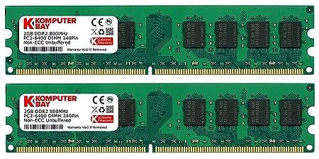 Komputerbay 4GB 2X 2GB DDR2 800MHz PC2-6300 PC2-6400 DDR2 800 (240 PIN) DIMM Desktop Memory Memory at amazon