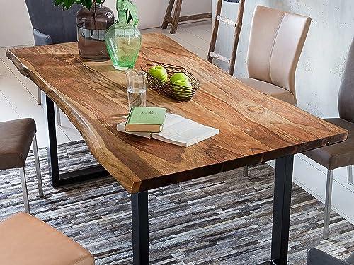 Baumkantentisch aus Akazienholz, nussbaumfarben