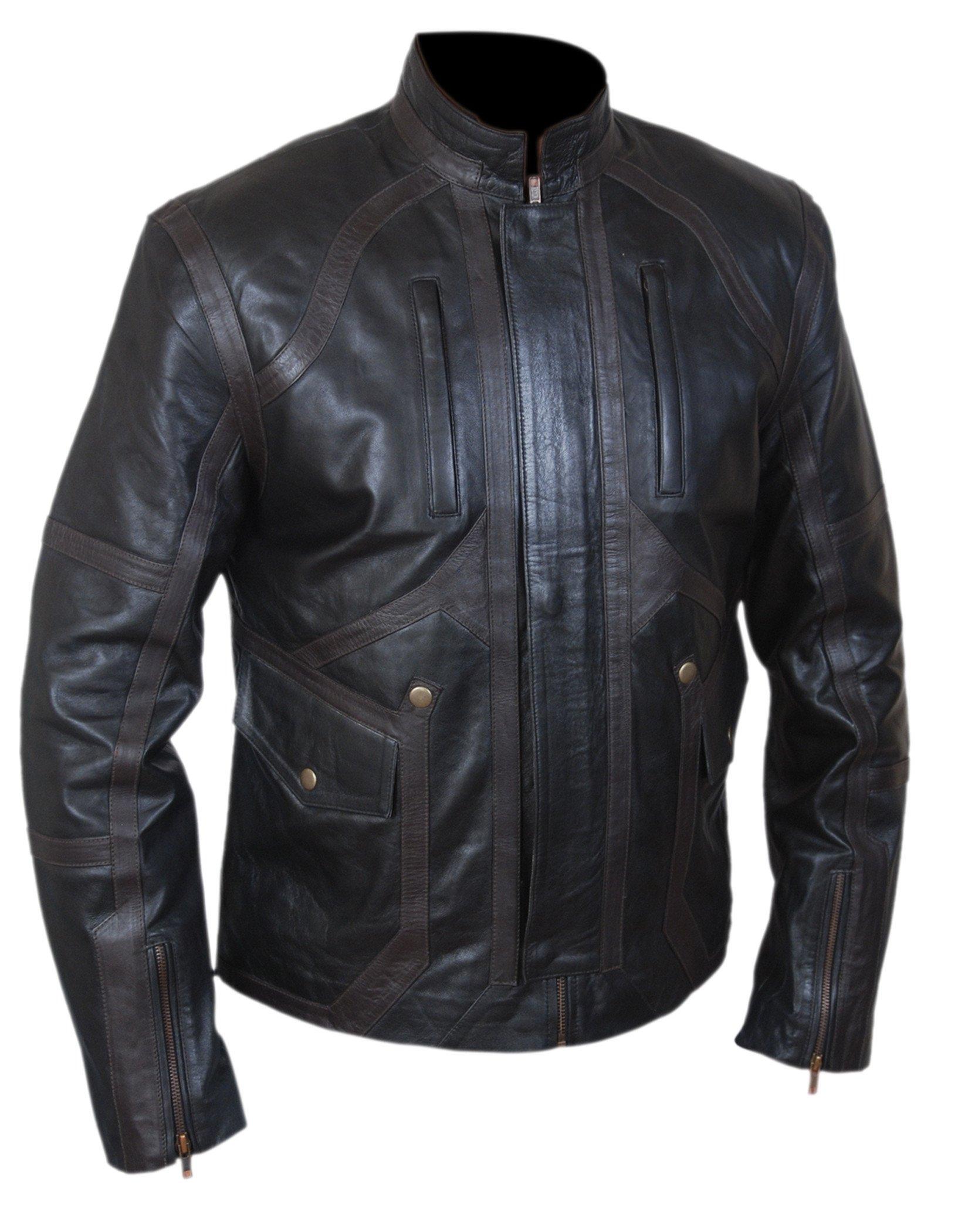 F&H Boy's Sebastian Stan Bucky Barnes Genuine Leather Jacket XL Black