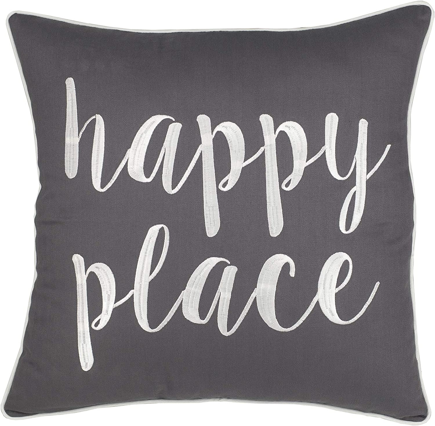 ADecor Pillow Covers Home is Where The Love is - Embroidered Decorative Pillowcase for Home Decor (18X18, Happy Place(Charcoal))