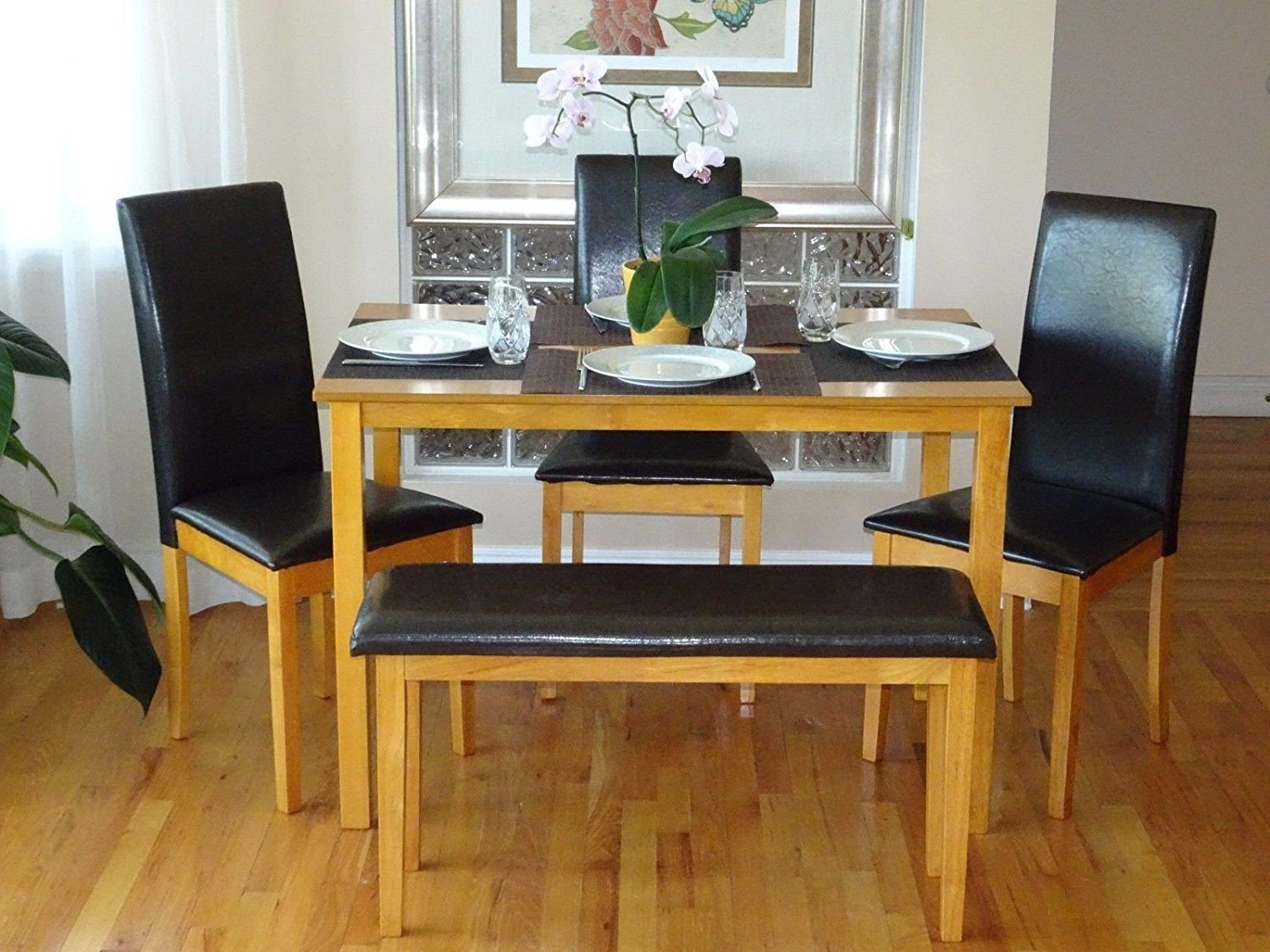 Rattan Wicker Furniture Dining Kitchen Solid Wooden Bench Stained Padded Seat Classic Design in Maple Finish by Rattan Wicker Furniture (Image #4)