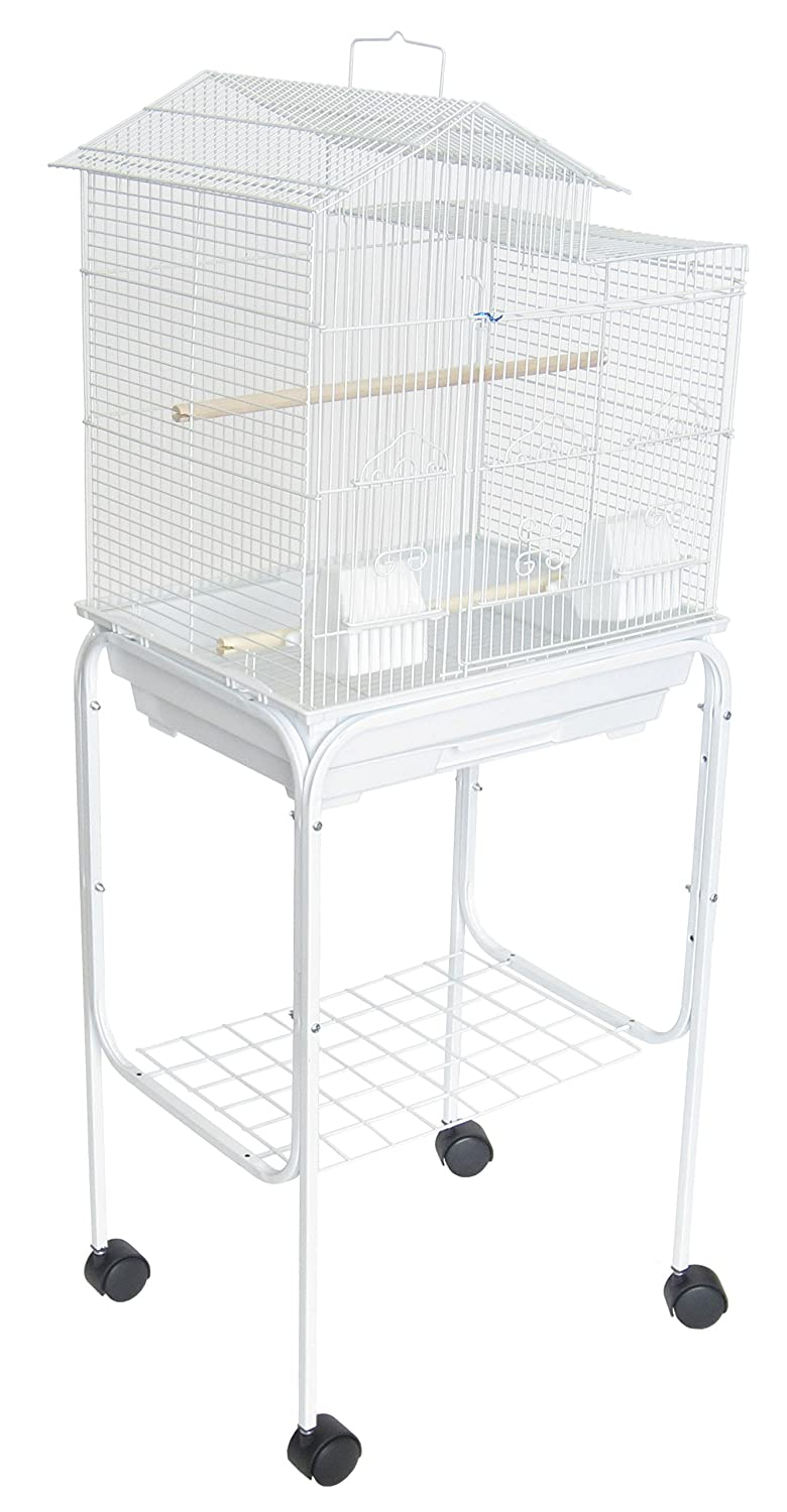 YML 5894 3/8-Inch Bar Spacing Villa Top Bird Cage with Stand, 18-Inch by 14-Inch/Small, White 5894_4814WHT