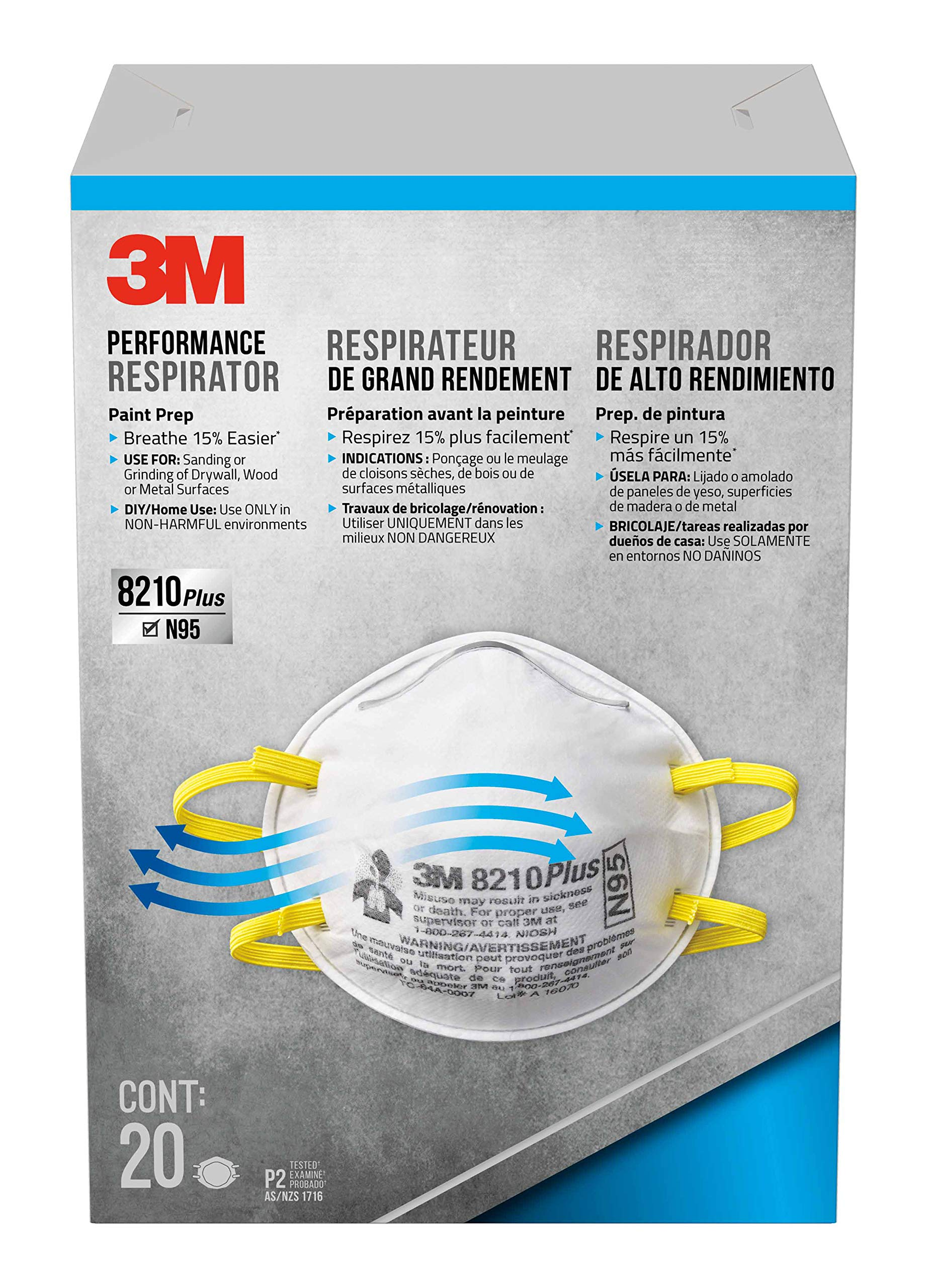 3M 8210 Plus Paint Sanding Dust Particulate Respirators, N95, 20-Pack by 3M Safety