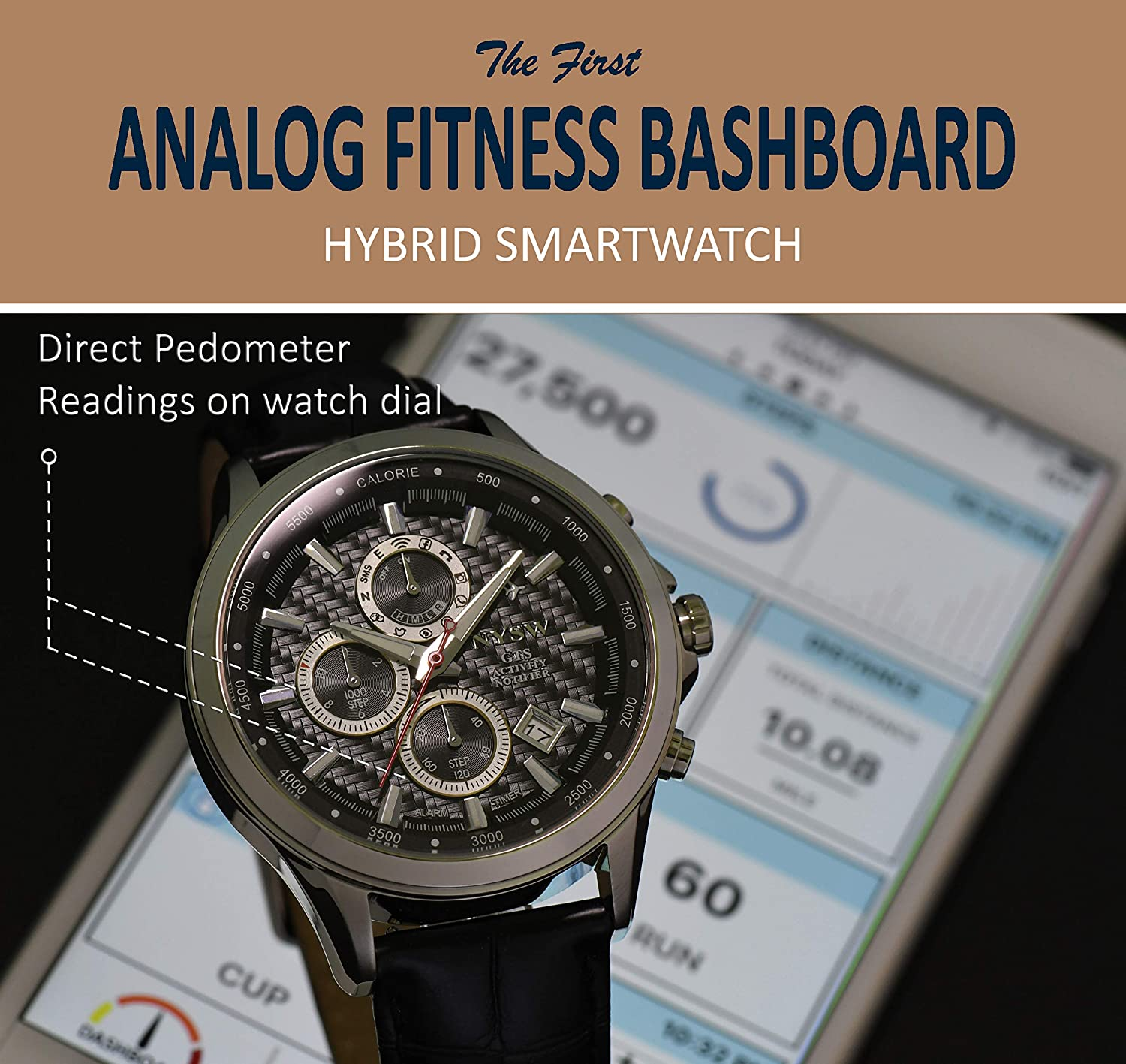 Worlds 1st Hybrid Smartwatch for Men with Perpetual Calendar NYSW This luxury fitness tracker with direct Steps Reading on Dial Advanced discreet Haptic Vibration notification NY-SH-05