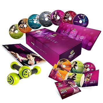 Zumba Fitness Exhilarate Coffret 7 DVD + 3 CD Inclus les 2 haltères et le  Livret cbc6b91a534