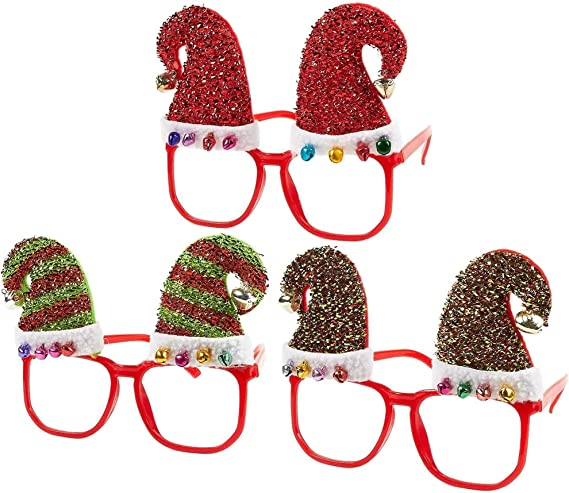 2x Novelty Christmas Glasses Frames Party Fancy Dress Props Kids Xmas Gifts