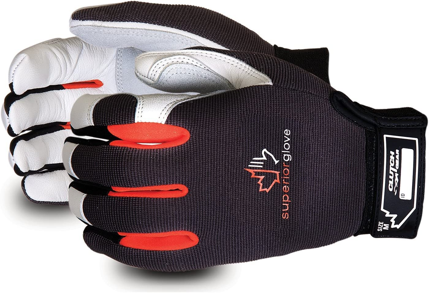 Superior Clutch Gear Grain Goatskin Leather Mechanics Gloves with Thumb Patch - MXGCE - (1 Pair of Small Work Gloves)