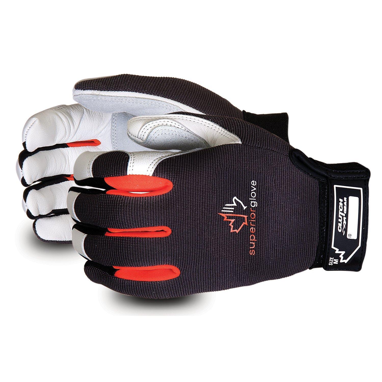 Superior Clutch Gear Grain Goatskin Leather Mechanics Gloves with Thumb Patch - MXGCE - (1 Pair of Medium Work Gloves)