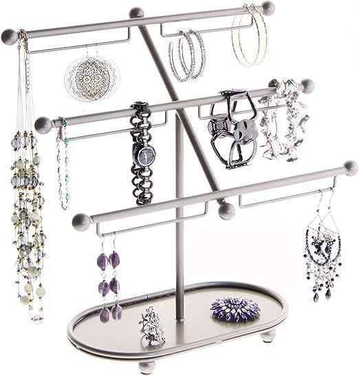 Amazon Com Angelynn S Large Dangle Hoop Earring Holder Jewelry Organizer Display Case Bracelet Stand Storage Rack Isabel Satin Nickel Silver Home Kitchen