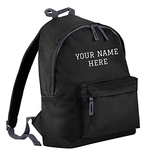 0e446ef03ee2 Personalised Kids Backpack - Black - Custom Name Text Print  Amazon ...