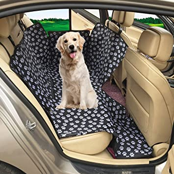 FREESOO Dog Car Seat Covers Hammock Waterproof Back Seat Cover Protector Pet Travel Cover Universal fits All Cars Black