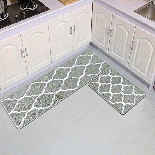 Area Rugs Kitchen Mats Moroccan Trellis Gray Kitchen Runner Rugs Soft Bath  Rugs Set of 2 No-Slip Indoor Outdoor Mat 17 × 48 Inches and 17 × 24 Inches  ...