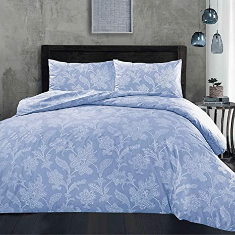 Lace Paisley Blue Duvet Cover With Pillowcases Reversible Polycotton Bedding Set