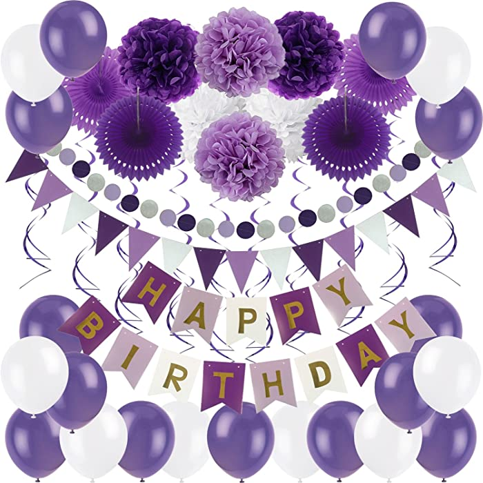 Zerodeco Birthday Decoration Set, Happy Birthday Banner Bunting with 4 Paper Fans Tissue 6 Paper Pom Poms Flower 10 Hanging Swirl and 20 Balloon for Birthday Party Decorations - Purple Lavender White