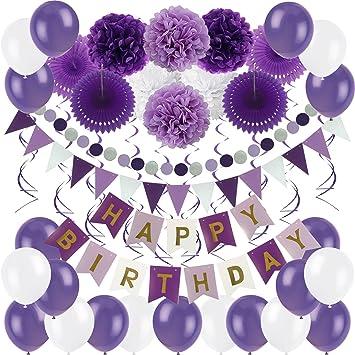 Zerodeco cumpleaños Decoraciones, Pancartas de Banderines de Happy Birthday Incluyendo Banner, Papel de Tejido Pom Pom Ball linternas, Flores, Cintas, ...