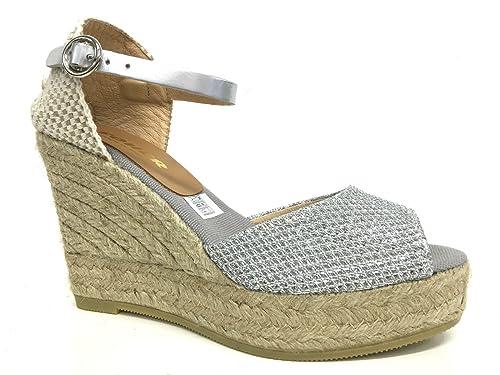 De Kanna Cuña Detalles Sobre Mujer Silver Zapatos Cuerda Soher Plata zpLqSMjGVU
