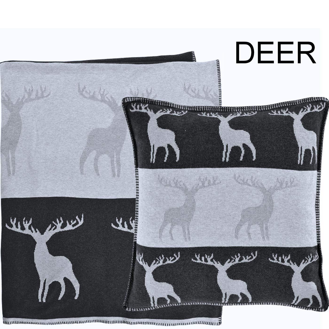 Sander Weihnachten Strick Motiv Deer Hirsch Plaid Tagesdecke Kuscheldecke 125 x 150 cm Baumwolle