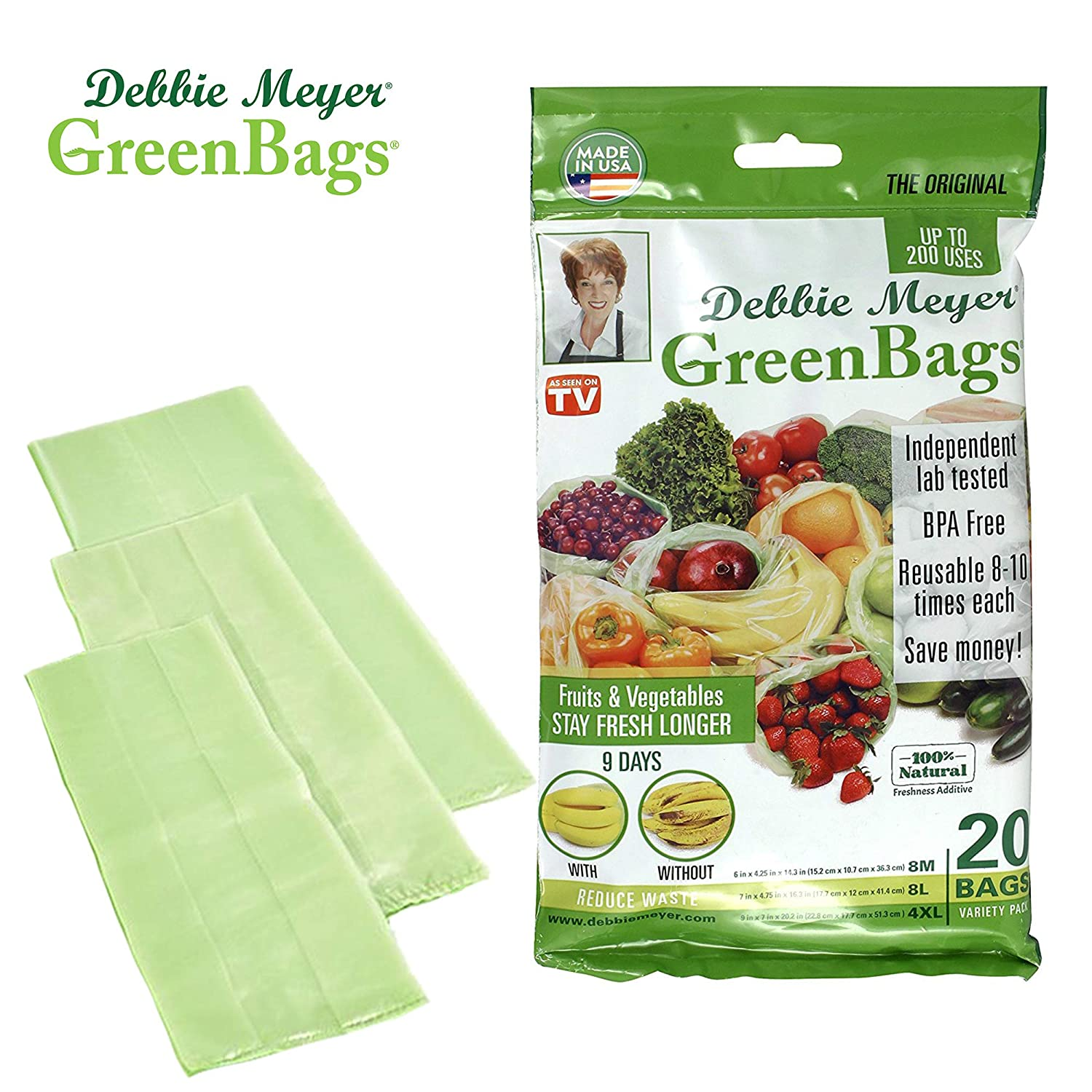 Debbie Meyer GreenBags - Reusable BPA Free Food Saver Storage Bags