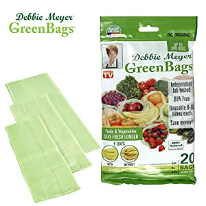 Debbie Meyer GreenBags - Reusable BPA Free Food Saver Storage Bags, Keep Fruits and Vegetables Fresher Longer in these Green Bags! 20pc Set (8M, 8L, 4XL)