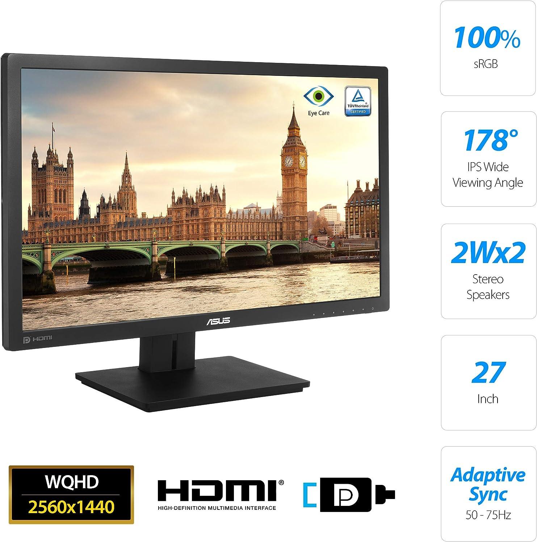 Asus PB278QV - Monitor Profesional de 27 WQHD (2560x1440, IPS, 100 % sRGB, 75 Hz, 5 ms, 16:9, LED, Adaptive-Sync, Antiparpadeo, Luz azul de baja intensidad, VGA, USB, DisplayPort, PIP, PBP) Negro: Amazon.es: Informática