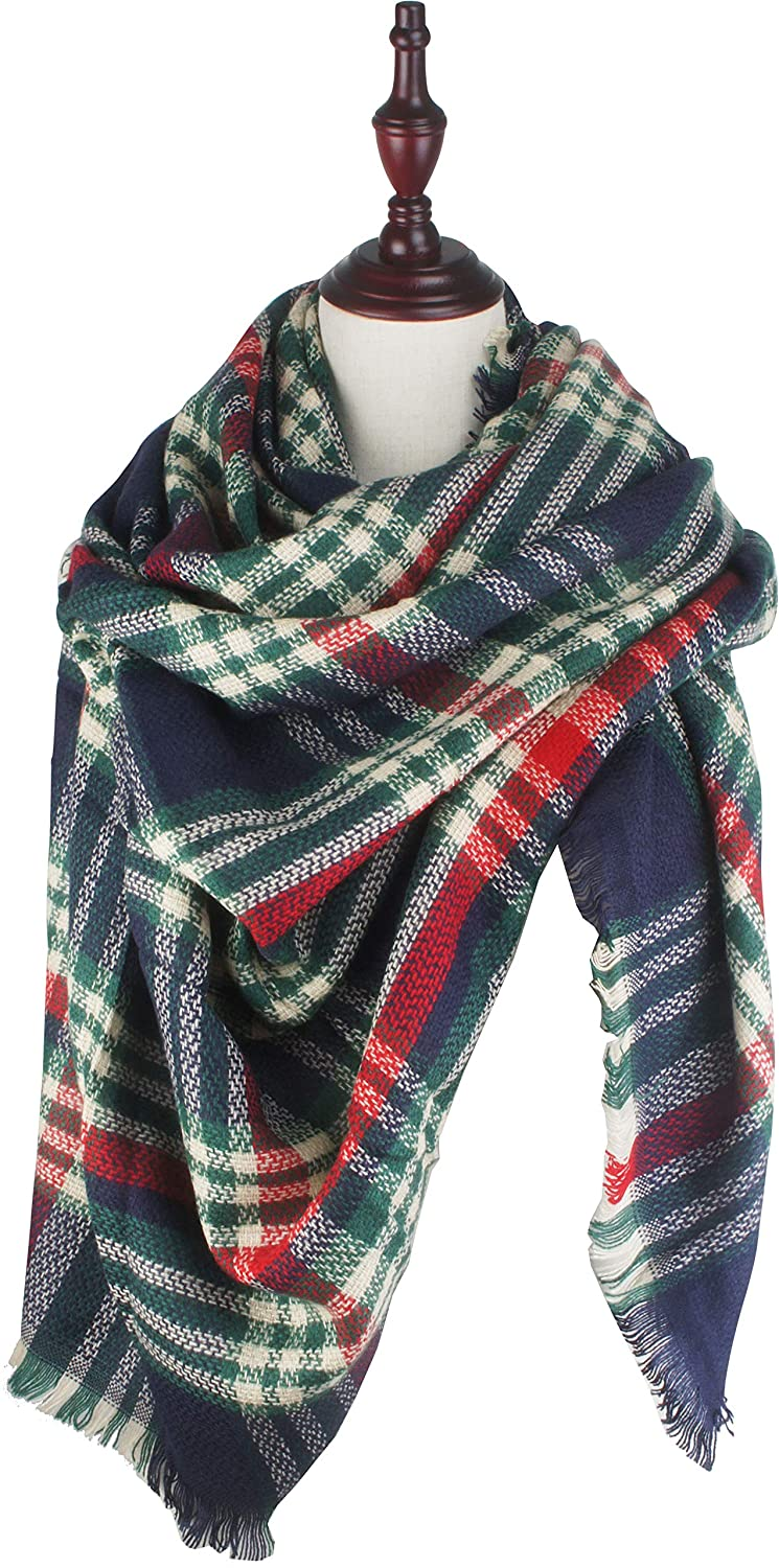 Chrsitmas Red Green bluee C19 VIVIAN & VINCENT Women's Plaid Blanket Winter Scarf Warm Wrap Oversized Shawl Cape