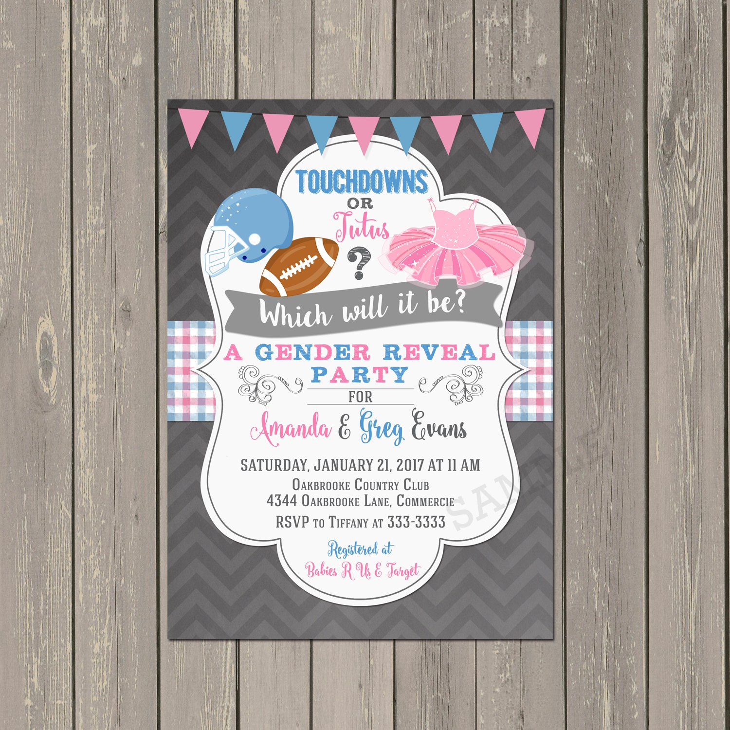 Amazon Touchdowns or Tutus Gender Reveal Invitation Football