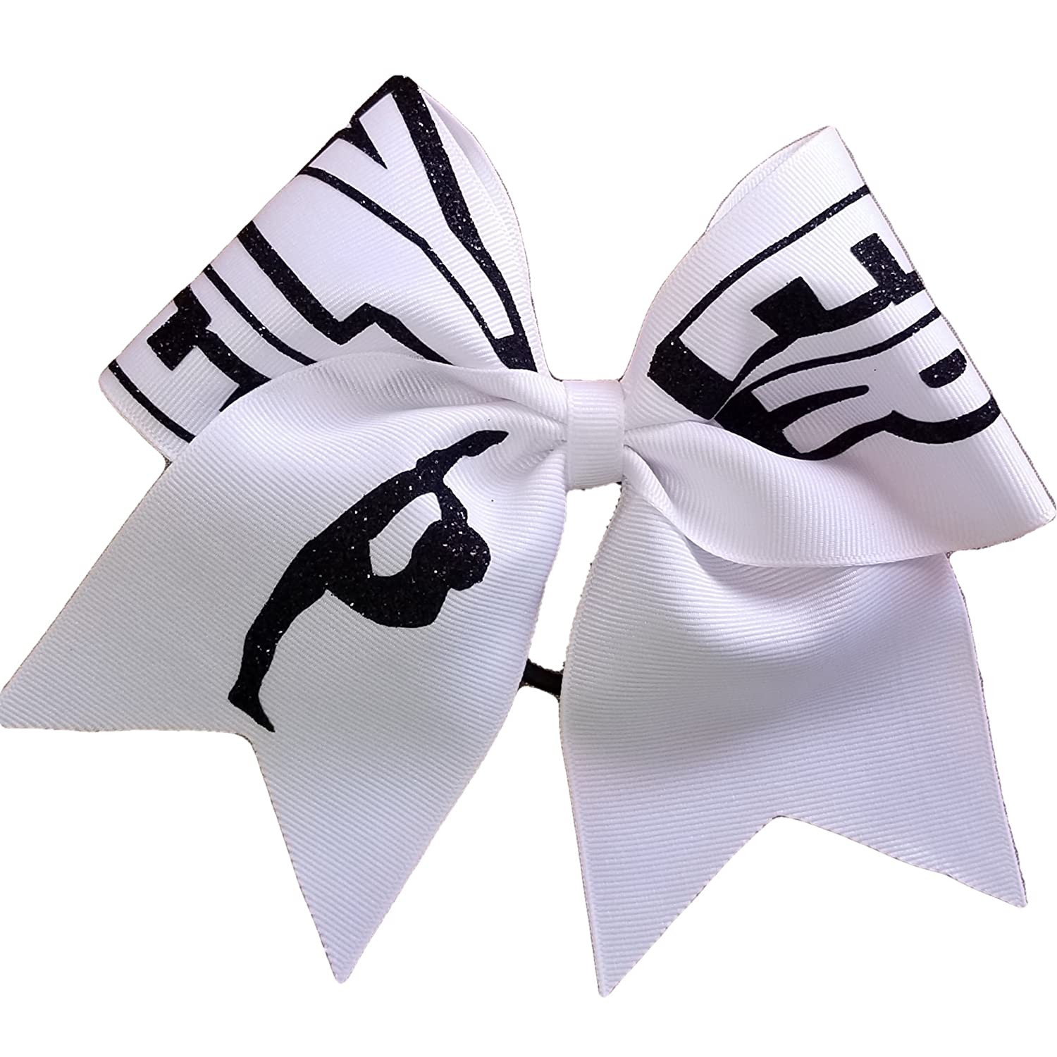 AZBOWS Cheer Bows White Flyer Stunt Group Hair Bow