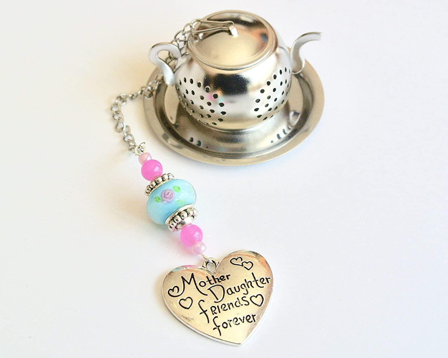 Mother Daughter Tea Infuser with Blue and Pink Beads and Heart Charm