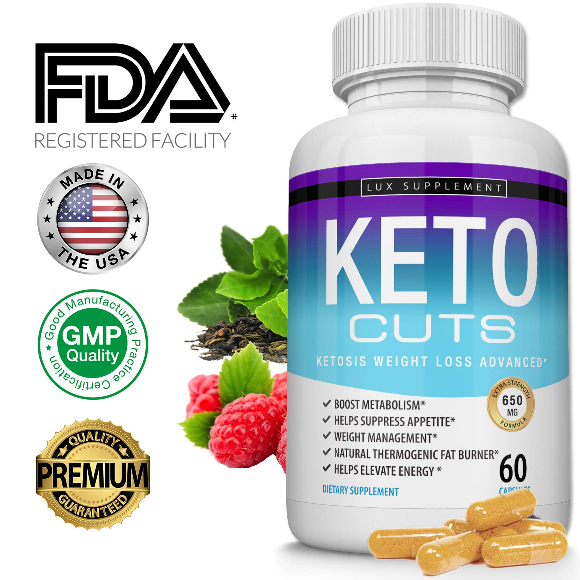 Shark Tank Keto Cuts Pills Ketosis Weight Loss Advanced - Best Ultra Fat Burner Using Ketone and ketogenic Diet, Boost Metabolism and Energy While Burning Fat, Men Women, 60 Capsules Lux Supplement