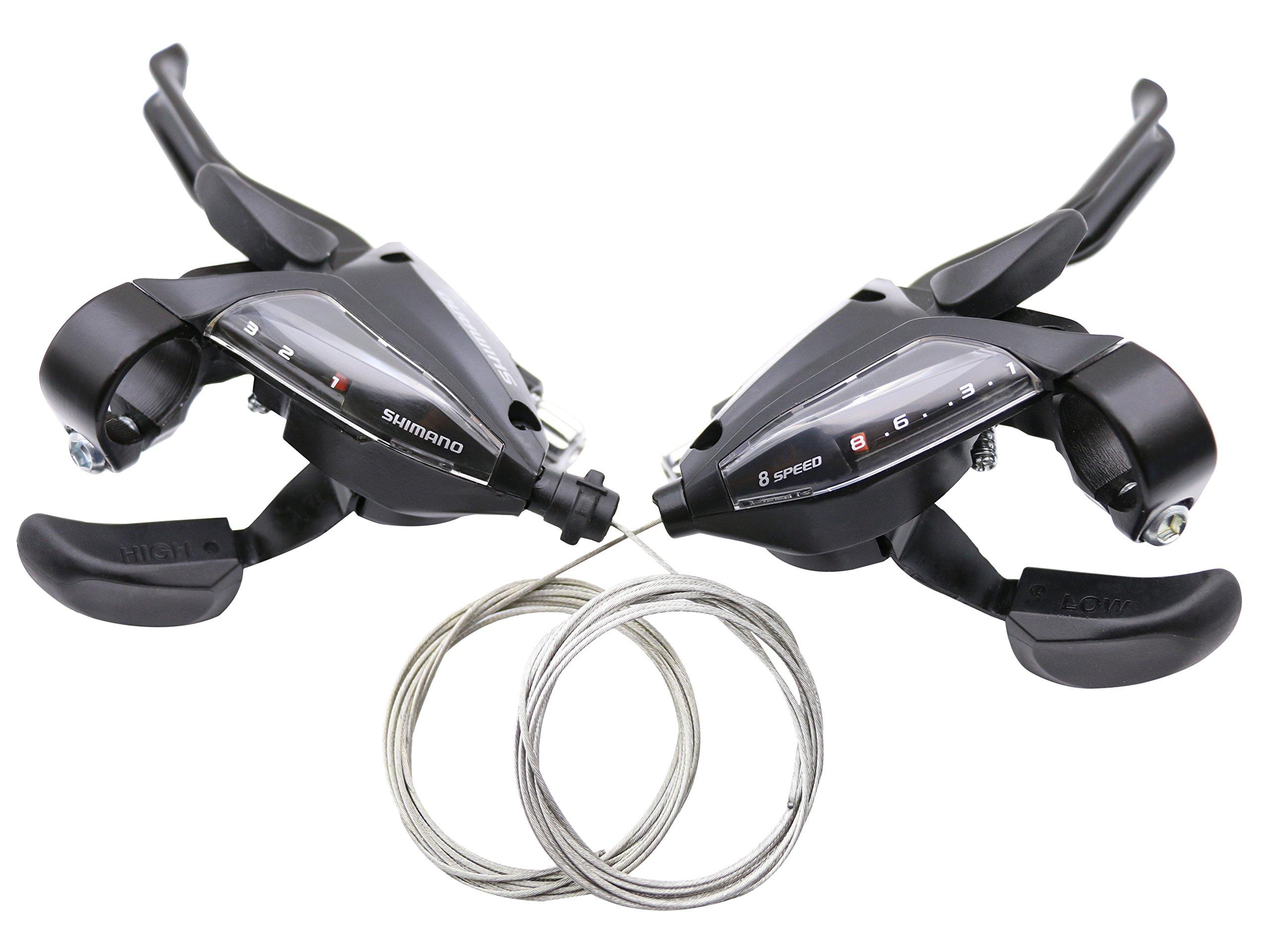 INKESKY Shimano Shifter ST-EF500 3x8 Speed Shift/Brake Lever Combo Set 3-Finger(Black, 1 Pair)