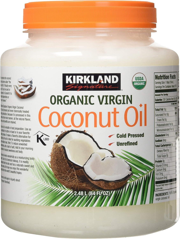 Kirkland Signature Cold Pressed Unrefined Organic Virgin Coconut Oil (2 Bottles - 84 OZ Each)