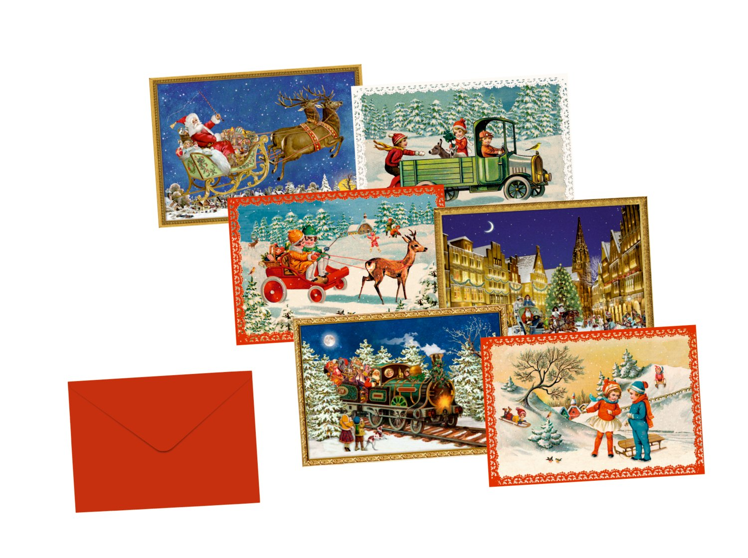 A set of 6 Cards - Very mini advent cheerful Advent season set miniature cards x 6 Traditional German Advent Calendar Cards Coppenrath 8.5 x 6 cm
