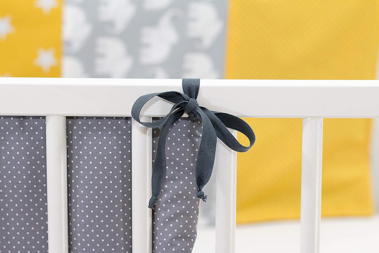 Protector de cuna de ULLENBOOM /® con elefantes amarillo protector de cuna de 180/x/30 cm; chichonera para cunas de 120/x/60 cm; zona de la cabeza