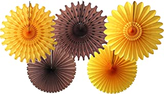 product image for 5-Piece Tissue Paper Fans, Brown Gold (13-18 Inch)
