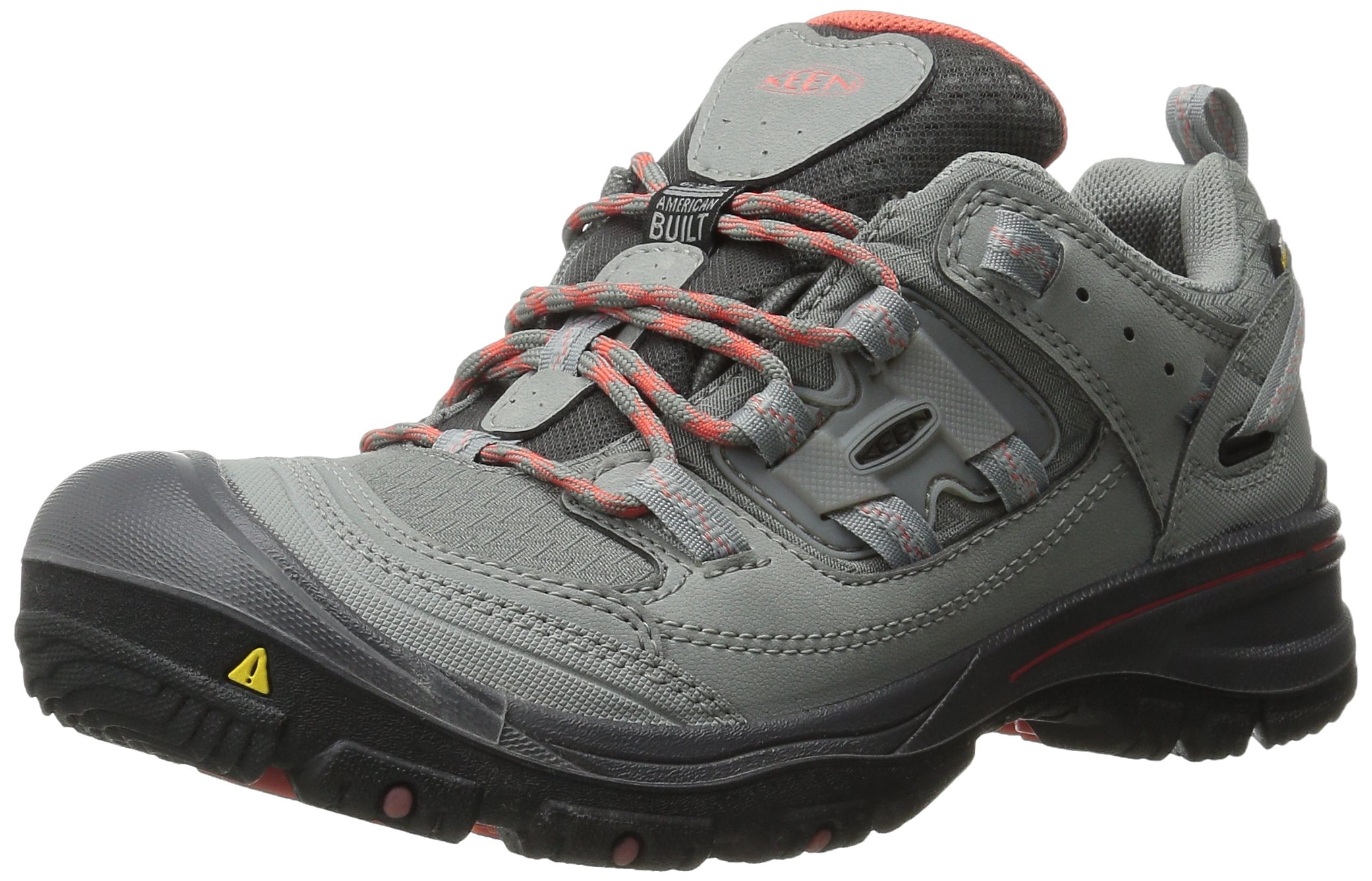 KEEN Women's Logan Outdoor Shoe, Neutral Gray/Hot Coral, 8.5 M US