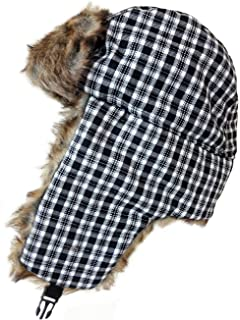 21e19af9 New Trapper Hat Black Checked Quilted Lining Faux Fur Trim Unisex Size 59CMS