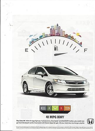 2001 Honda Civic Mpg >> Amazon Com Print Ad For 2001 White Honda Civic Hf Car 41