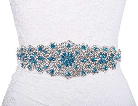 Redowa Wide Malibu Blue Rhinestone Pearl Wedding Dress Bridal Sash ...