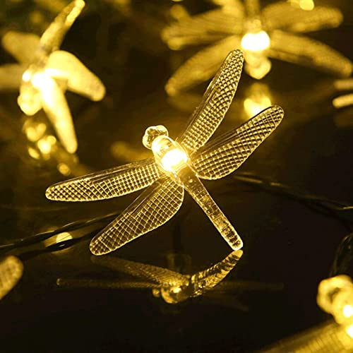 Dragonfly Solar String Lights, 30LED 21ft 8 Modes Outdoor Waterproof Crystal Dragonfly Fairy Lighting for Christmas Trees, Garden, Patio, Fence, Wedding, Party and Holiday Decorations – Warm White