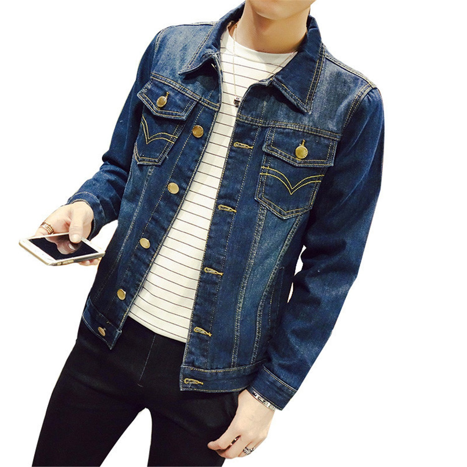 Catwomanfun Solid Slim Mens Denim Jacket Plus Size S-4XL 5XL Bomber Jacket Men Mens Jean Jacket Chaqueta Hombre at Amazon Mens Clothing store: